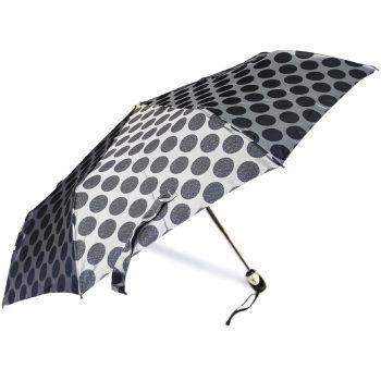 Luksusowy, jacquardowy parasol ZEST w ozdobnym pudełku- JACQUARDOWE CIEMNE SREBRNE GROCHY