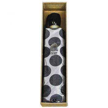Luksusowy, jacquardowy parasol ZEST w ozdobnym pudełku-JACQUAROWE CIEMNE, SREBRNE GROCHY
