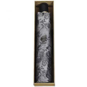 Luksusowy, jacquardowy parasol ZEST w ozdobnym pudełku-JACQUARDOWE CIEMNE KWIATY