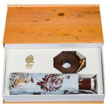 Gift Set – Parasolka ZEST w brązowe kwiaty + brązowy, skórzany pasek