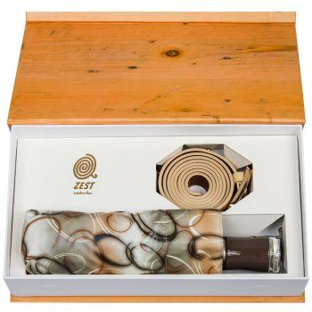 Gift Set – Parasolka ZEST w beżowe kółka + beżowy, skórzany pasek