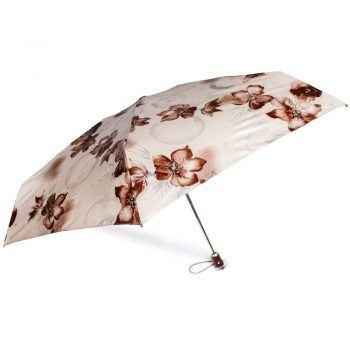 Gift Set – Parasolka ZEST w kwiaty na delikatnym różowym tle + beżowy, skórzany pasek