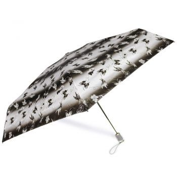 Gift Set – Parasolka ZEST w czarno-białe motyle + czarny, skórzany pasek